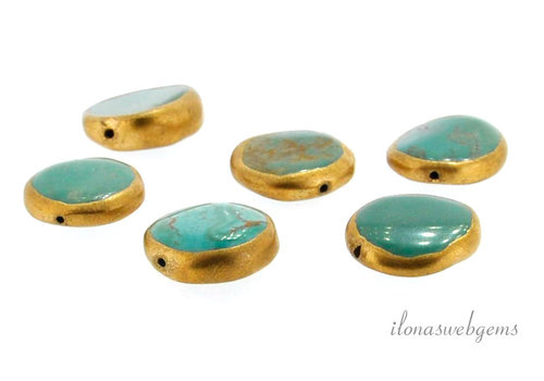 1x Arizona turquoise bead coin around 17x6mm