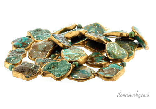Arizona turquoise beads gold plated Unique