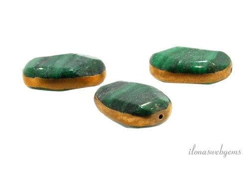 Jade kraal gold plated ca. 24x17x7mm