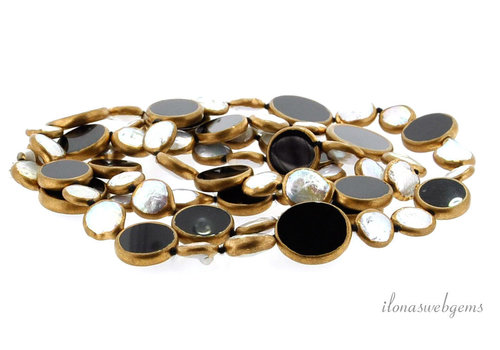 Onyx coin parels gold plated