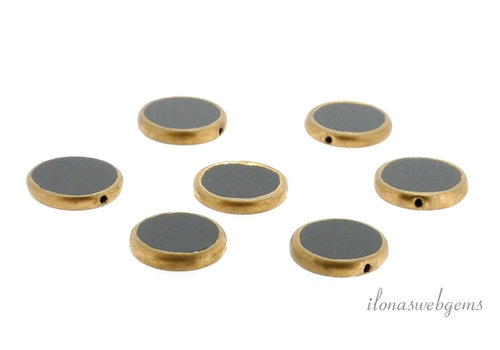 Onyx coins gold plated ca. 15.5x3.5mm