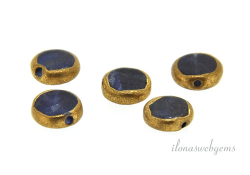 Sodalite coin gold plated around 9x3mm