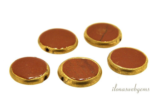Red Jasper coin gold plated around 15x3mm