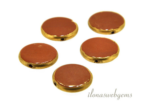Red Jasper coin gold plated around 16.5x3mm