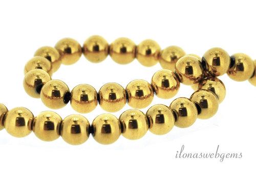 Hematite beads around gold plated around 6.5mm