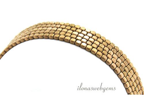 Hematite beads cube rose gold plated around 3.5mm