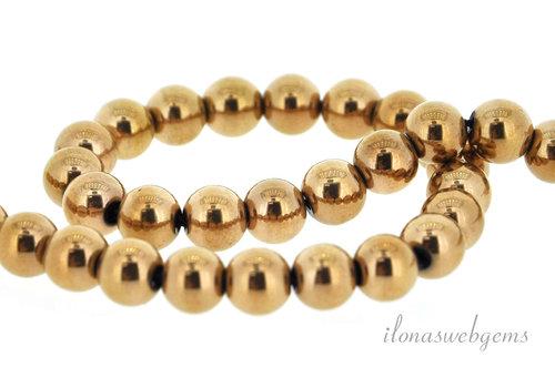 Hematite beads around rose gold plated around 6.25mm