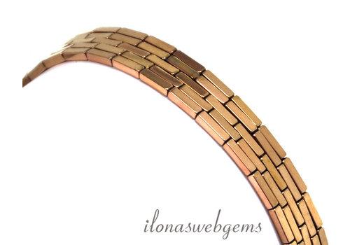 Hematite beads rose gold plated around 8x2mm
