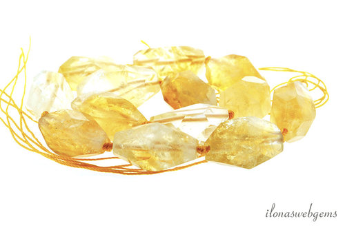Citrien free shape kralen ca. 30x15mm