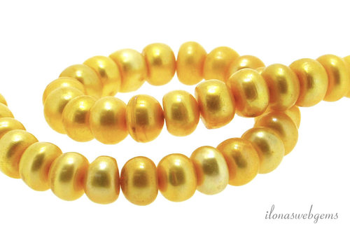 Yellow freshwater pearls approx. 8.5x5mm