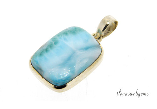 Sterling silver Larimar pendant around 30x22x7mm