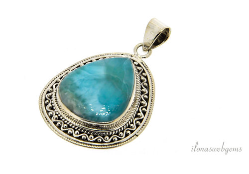Sterling silver Larimar pendant around 40x32x8mm