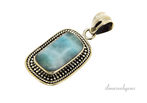 Sterling silver Larimar pendant around 28x18x6mm