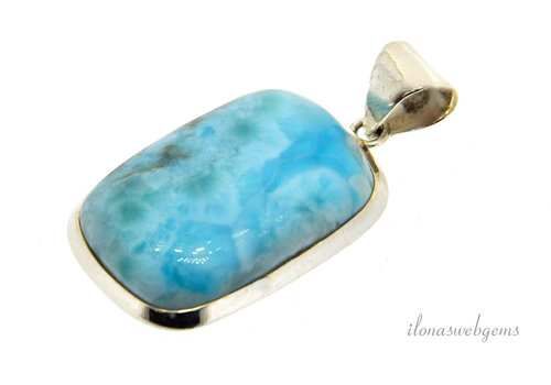 Sterling silver Larimar pendant around 32x22x7mm