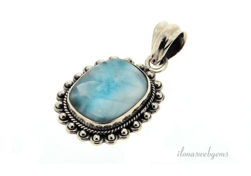 Sterling silver Larimar pendant around 25.5x22x6mm