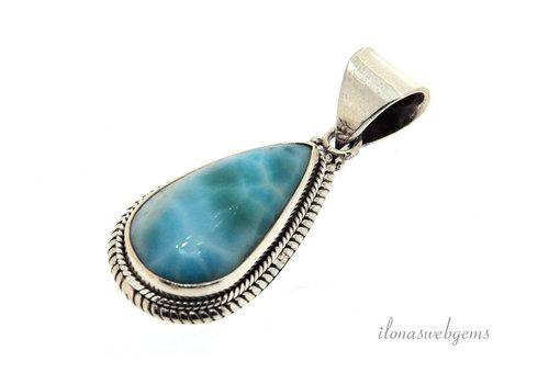 Sterling silver Larimar pendant around 32x22x6.5mm