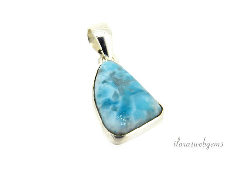 Sterling silver Larimar pendant around 26.5x16x5.5mm