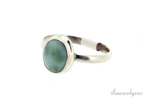 Sterling silver ring with Larimar around 11x9mm