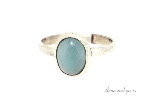 Sterling zilveren ring met Larimar ca. 11x9x6mm