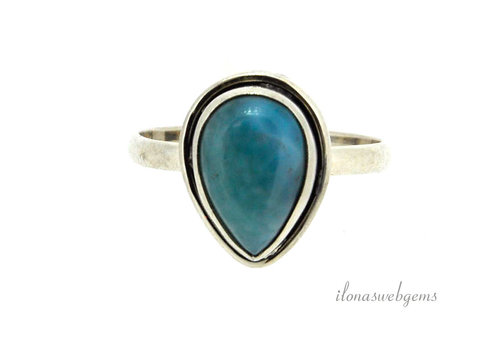 Sterling silver ring with Larimar around 15x11x6mm