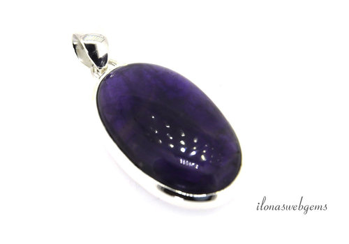 Sterling silver pendant with Amethyst around 38x23mm