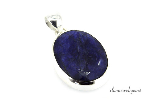 Sterling silver pendant with sapphire facet around 29x22mm