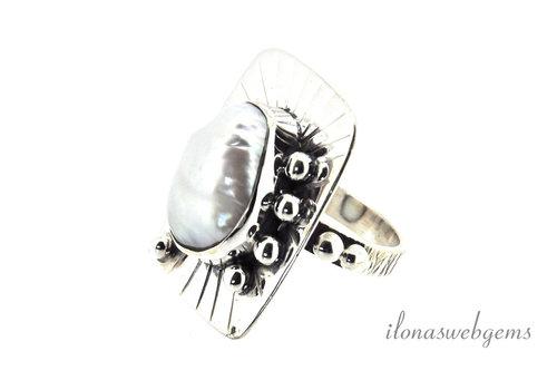 Sterling zilveren ring Zoetwaterparel ca. 31x23mm