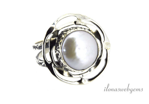 Sterling zilveren ring Zoetwaterparel ca. 23x22mm