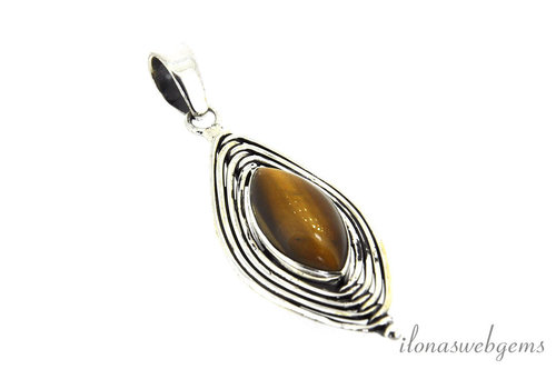 Sterling silver pendant with Tiger eye around 42x18.5mm