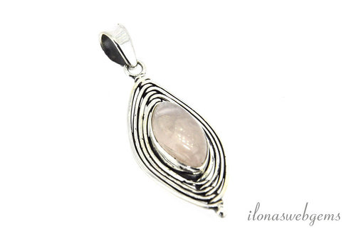 Sterling silver pendant with rose quartz around 47x20mm