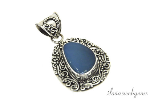 Sterling silver pendant with blue Opal around 27x21mm