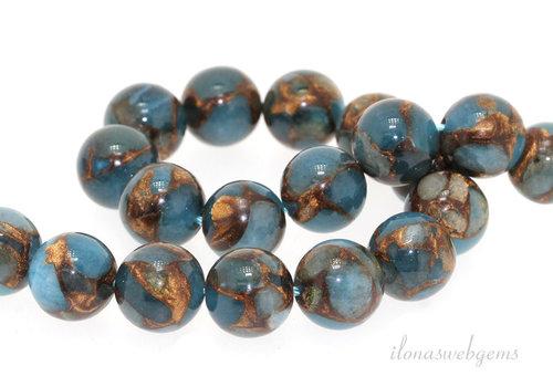 Blaue Schwammquarzperlen um 12 mm