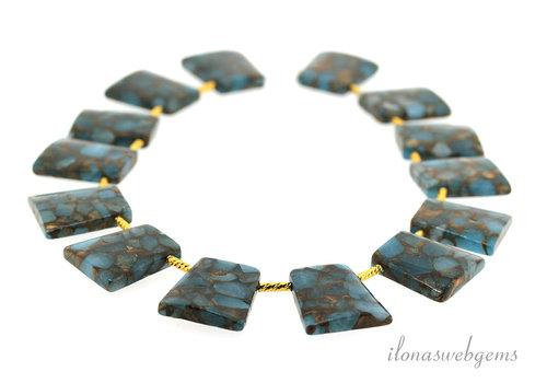 Halsreif blau Schwamm Quarz Perlen ca29x25x5.5mm