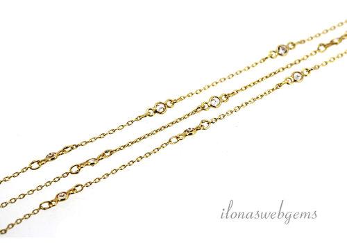 10 cm Vermeil Halskette mit Zirkonia um 3 mm
