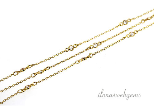 10 cm Vermeil necklace with Cubic Zirconia around 3 mm