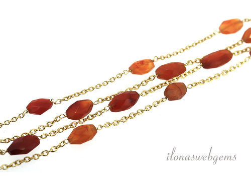 Vermeil necklace with carnelian carnelian around 8-9mm