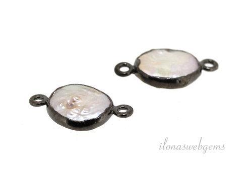 Sterling Silber Stecker mit Perle schwarz plattiert ca. 17,5x10mm