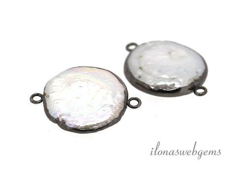 Sterling Silber Verbinder mit Perle schwarz plattiert ca. 29x22mm