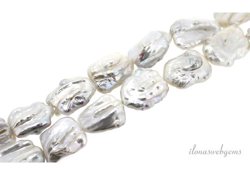 Biwaparels white around 22x16x8mm