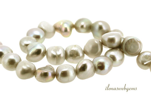 Baroque pearls soft gray around 10x9x8mm