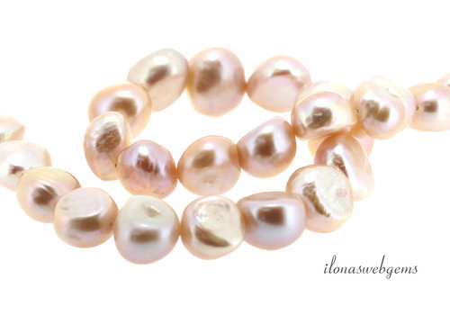 Baroque pearls salmon lilac around 10x9x7mm
