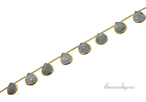 Vermeil hangers met Aquamarijn ca. 15x11x4mm