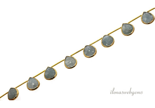Vermeil pendants with aquamarine around 15x11x4mm