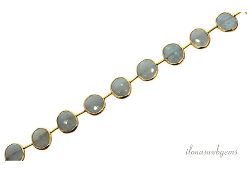 Vermeil beads with Aquamarine beads around 15x12x4mm