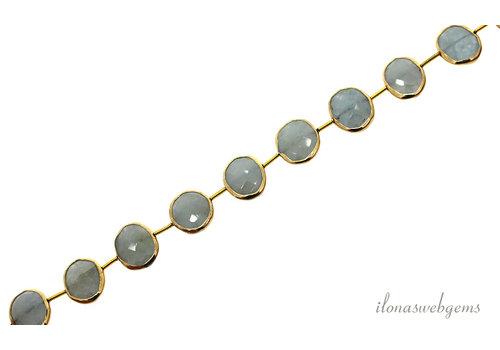 Vermeil Perlen mit Aquamarin Perlen um 15x12x4mm