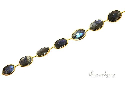 Vermeil beads with Labradorite around 16x13x5mm