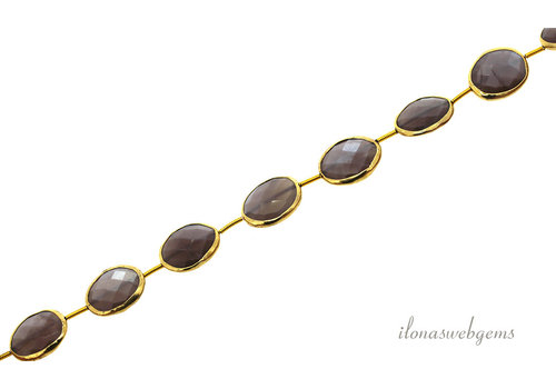 Vermeil beads with Moonstone around 16x12x4.5mm