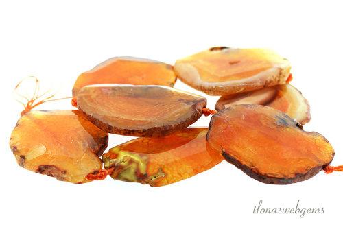 Fire Agate slices orange Mega ca. 57x52x8mm