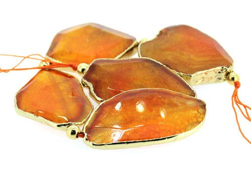 Feuerachatpaste orange vergoldet ca. 50x34x8mm