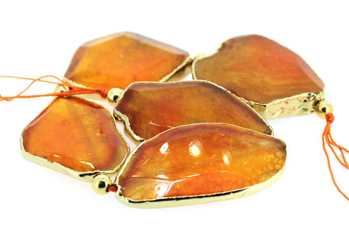 Fire Agate paste orange gold plated ca. 50x34x8mm